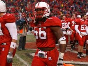 Nate Irving of N.C. State leaves the field after the Wolfpack defeated Miami 38-28 on November 29, 2008.