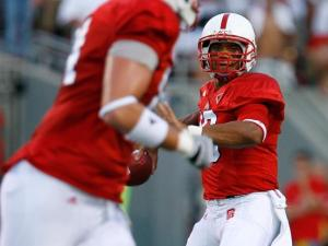 N.C. State quarterback Russell Wilson looks to pass the ball on September 3, 2009.
