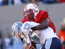 N.C. State blocked a late field goal by North Carolina to defeat the Tar Heels 28-27.