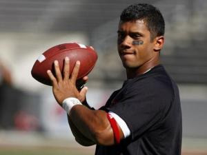 N.C. State quarterback Russell Wilson throws a few passes before the season opener against Western Carolina on September 4, 2010.