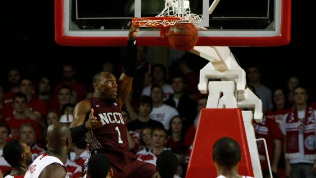 Dominique Sutton (1) dunks during the NC Central vs. NC State game on December 11, 2011 in Raleigh, North Carolina.