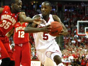 C.J. Leslie (5) drives against James Padgett (35) during the Maryland vs. NC State game on January 8, 2012 in Raleigh, North Carolina.