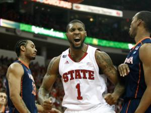 Richard Howell (1) is fired up after get fouled during the Virginia vs. NC State game on January 28, 2012 in Raleigh, North Carolina.