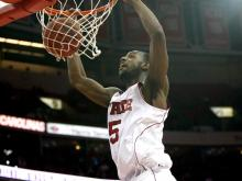 NC State forward Calvin Leslie announced Wednesday that he would return for his junior season.