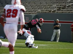 Tyler Purvis (49) grabs a catch during the NC State Kay Yow 2012 Spring Football Game in Raleigh, NC on April 21, 2012.