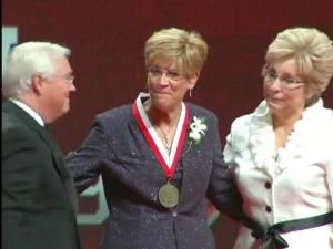 Jim Valvano's widow appeared on his behalf Friday as NC State University inducted the first class into its Athletic Hall of Fame.