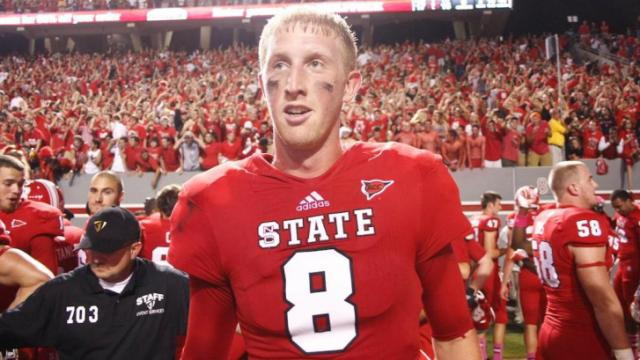 Mike Glennon after the Pack's victory over FSU on October 6, 2012 in Raleigh, North Carolina.