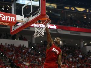 Rodney Purvis dunks in warmups before the scrimmage during Primetime with the Pack on October 12, 2012 in Raleigh, North Carolina.