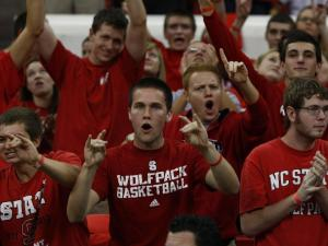 Pack fans cheer for the team during Primetime with the Pack on October 12, 2012 in Raleigh, North Carolina.
