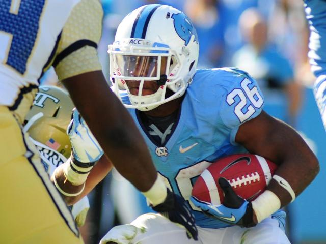 Gio Bernard (26) runs with ball during the University of North Carolina vs. Georgia Tech NCAA football game, Saturday, November 10, 2012 in Chapel Hill, NC.  <br/>Photographer: Will Bratton