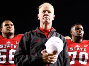 Coach Tom O'Brien and the Pack after defeating Wake Forest 37-6on November 10, 2012 in Raleigh, North Carolina.