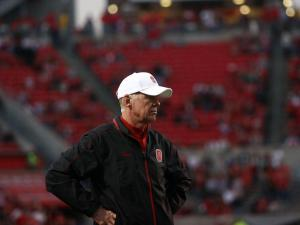 Coach Tom O'Brien looks on during the Wake Forest vs. NC State game on November 10, 2012 in Raleigh, North Carolina.