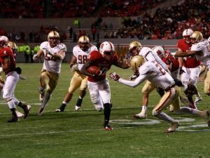 Shadrach Thornton (10) rushes during the Boston College vs. NC State game on November 24, 2012 in Raleigh, North Carolina.