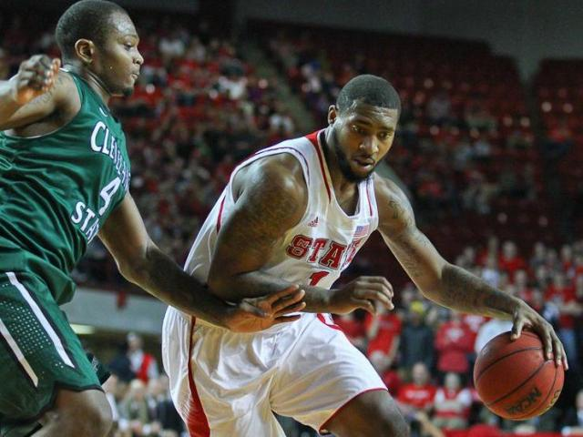 Richard Howell #1 moves in on Cleveland State Devon Long #4. NC State tops Cleveland State 80 to 63 at Reynolds  Coliseum 12-8-12.