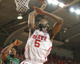 C.J. Leslie #5 drives in for the lay up. NC State tops Cleveland State 80 to 63 at Reynolds  Coliseum 12-8-12. Photo by CHRIS BAIRD