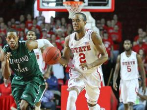 Lorenzo Brown # 2 pushing the ball down court. NC State tops Cleveland State 80 to 63 at Reynolds  Coliseum 12-8-12. Photo by CHRIS BAIRD