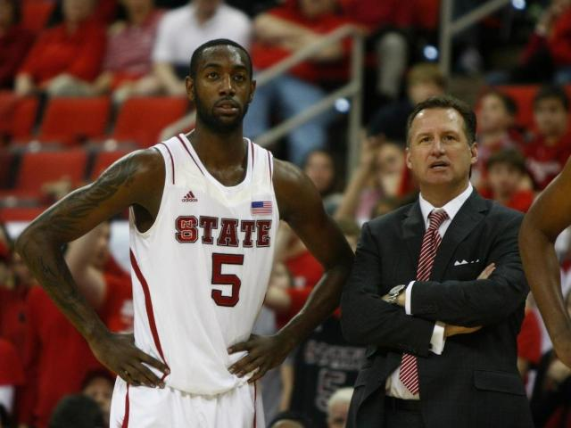 C.J. Leslie (5) and Coach Gottfried watch as Tyler Lewis takes free throws during the St. Bonaventure vs. NC State game on December 22, 2012 in Raleigh, North Carolina. <br/>Photographer: Jerome Carpenter