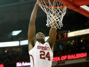 T.J. Warren (24) slams emphatically during the St. Bonaventure vs. NC State game on December 22, 2012 in Raleigh, North Carolina.