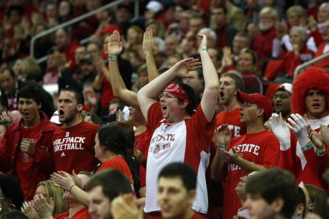 NC State fans disagree with an official&#039;s call during the Georgia Tech vs. NC State game on January 9, 2013 in Raleigh, North Carolina.<br/>Photographer: Jerome Carpenter