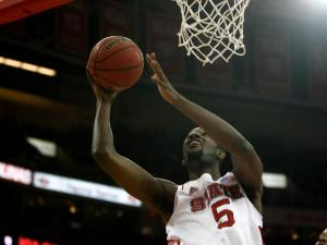 C.J. Leslie (5) puts up a layup during the Georgia Tech vs. NC State game on January 9, 2013 in Raleigh, North Carolina.