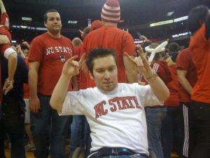 Will Privette celebrates on the court following NC State's 2010 win over Duke. (Courtesy: Will Privette)