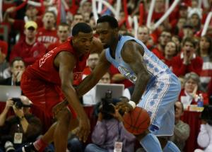 T.J. Warren (24) knocks the ball from P.J. Hairston (15) during the UNC vs. NC State game on January 26, 2013 in Raleigh, North Carolina.