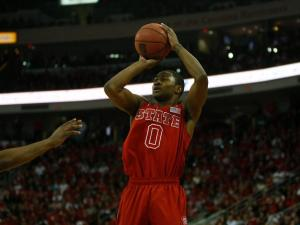 Rodney Purvis (0) rises up for a jumper during the UNC vs. NC State game on January 26, 2013 in Raleigh, North Carolina.