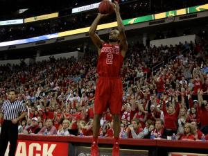 Lorenzo Brown (2) elevates for a jump shot during the UNC vs. NC State game on January 26, 2013 in Raleigh, North Carolina.