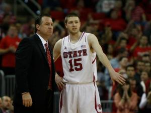 Scott Wood (15) talks to Coach Mark Gottfried during the Florida State vs. NC State game on February 19, 2013 in Raleigh, North Carolina.