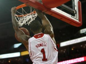 Richard Howell (1) dunks during the Florida State vs. NC State game on February 19, 2013 in Raleigh, North Carolina.
