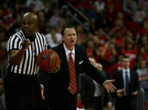 Coach Mark Gottfried questions an official's call during the Florida State vs. NC State game on February 19, 2013 in Raleigh, North Carolina.
