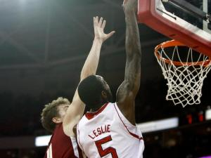 C.J. Leslie (5) dunks over Eddie Odio (4) during the Boston College at NC State game on February 27, 2013 in Raleigh, NC.