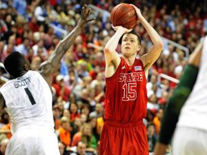 Scott Wood (15) takes a shot during semifinal action of the 2013 ACC Men's Basketball Conference Tournament between NC State and Miami at the Greensboro Coliseum on March 16, 2013 in Greensboro, NC.