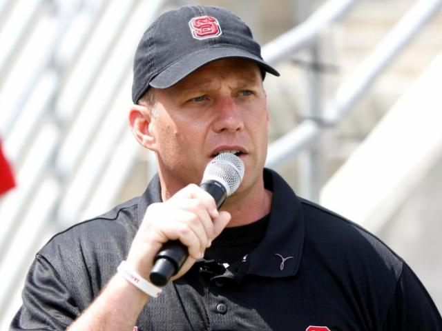 Head Coach Dave Doeren addresses the crowd during the NC State Spring Game on April 20, 2013 in Raleigh, NC. <br/>Photographer: Jerome Carpenter