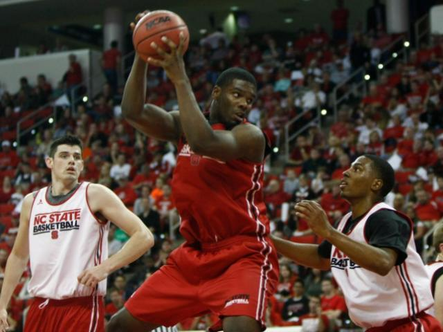 Lennard Freeman (10) gets inside position during Primetime with the Pack at the PNC Arena in Raleigh, North Carolina on October 18, 2013.