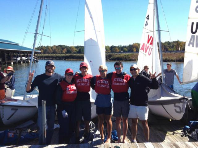 Pictured (L to R): Nick Henderson, (Sr., Oxford, NC), Ian Duffy (Fr., Charleston, SC), David Rogers (Jr., Mt. Pleasant, SC), Andrew Edwards (Fr., Aiken, SC), Dana Magliola (Asst. Coach). © SailPack Foundation.