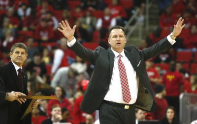 Coach Mark Gottfried during a time out. Pitt defeated NC State 74-62 on January 4, 2014 at the PNC Arena in Raleigh, North Carolina.  Photo by: Jerome Carpenter.