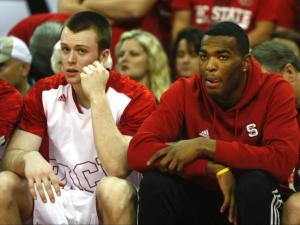 T.J. Warren (24), hampered by an ankle injury, looks on from the sideline. NC State defeated Maryland 65-56 on January 20, 2014 at the PNC Arena in Raleigh, NC. Photo by: Jerome Carpenter
