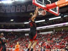 NC State forward TJ Warren dunks in transition during the second half Saturday against Miami at PNC Arena.