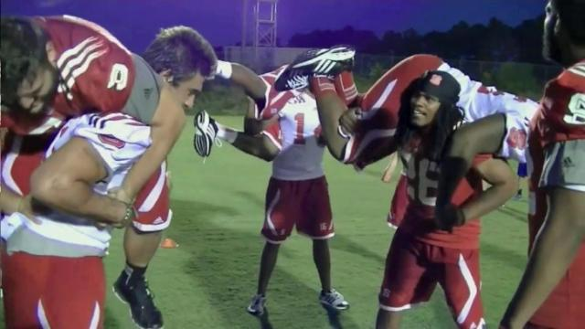 NC State players work out with special ops unit