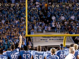 UNC celebrates after defeating Notre Dame at Keenan Stadium.