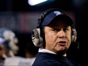 UNC head football coach Butch Davis watches his Tar Heels take on Duke in Durham.