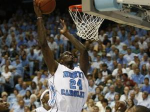 Marvin Williams scores in the UNC alumni game