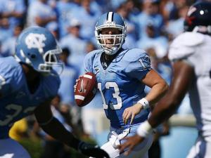 North Carolina quarterback T.J. Yates looks for an open receiver against Virginia on October 3, 2009.
