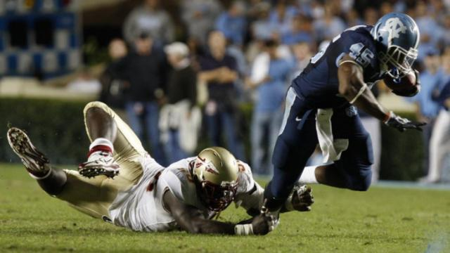 Devon Ramsay moves up field during the UNC vs. Florida State football game, Thursday, October 22, 2009 at Kenan Stadium in Chapel Hill.  Photo by Todd Melet