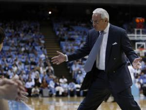 Roy Williams works the bench during the UNC vs Gardner-Webb game Monday, November 23, 2009.  Photo by Todd Melet