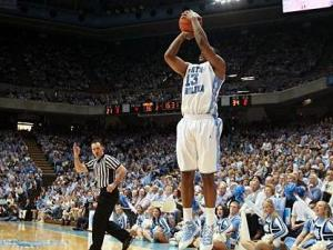 UNC forward Will Graves unleashes one of five made 3's late in UNC's home loss to Georgia Tech on Saturday afternoon (Photo by Jack Morton).