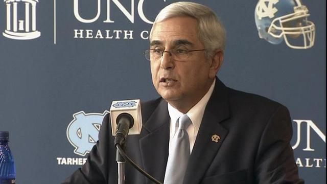 UNC athletic director meets with media at football press conference