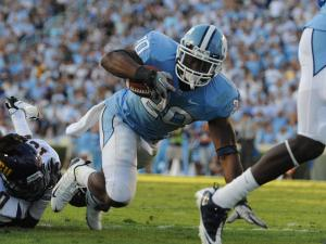 Shaun Draughn (20) scores during the UNC vs. ECU game at Kenan Stadium in Chapel Hill, N.C. on Saturday, October 2, 2010. Draughn ended the day with 137 yards and 3 scores.