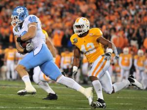 Ryan Taylor (49) runs after a catch during the North Carolina Tar Heels vs. Tennessee Volunteers game, Wednesday, December 29, 2010 at the Franklin American Mortgage Music City Bowl in Nashville, TN.